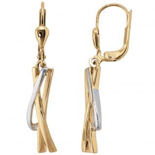 Ohrhänger 585 Gold Gelbgold bicolor 2 Diamanten Brillanten Ohrringe Goldohrringe