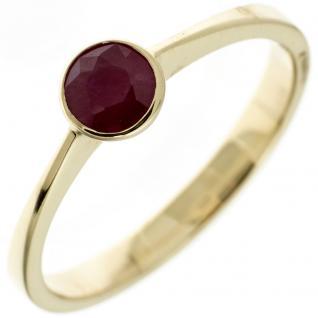 Damen Ring 333 Gold Gelbgold 1 Rubin rot Goldring - 56