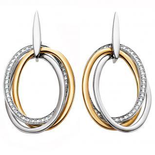 Ohrstecker 750 Gold Weißgold Gelbgold bicolor 90 Diamanten Brillanten Ohrringe
