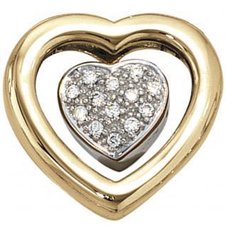 Anhänger Herz 585 Gold Gelbgold Weißgold bicolor 13 Diamanten Brillanten