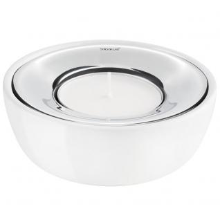 Blomus Teelichthalter FUOCO, Edelstahl poliert, Keramik weiß glänzend