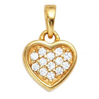 Anhänger Herz 925 Sterling Silber gold vergoldet mit Zirkonia Herzanhänger