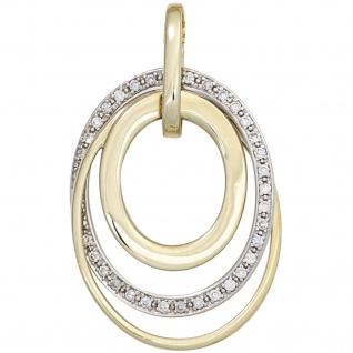 Anhänger 585 Gold Gelbgold Weißgold bicolor 34 Diamanten Brillanten Goldanhänger