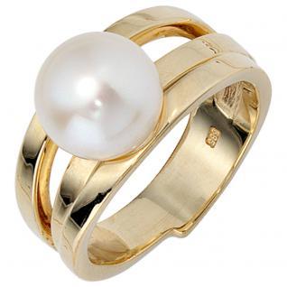 Damen Ring 585 Gold Gelbgold 1 Süßwasser Perle Goldring Perlenring - 58