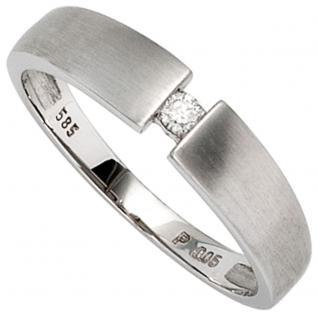 Damen Ring 585 Gold Weißgold mattiert 1 Diamant Brillant 0, 05ct. Goldring - 52