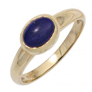 Damen Ring 585 Gold Gelbgold 1 Lapislazuli blau Goldring - 52