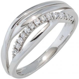 Damen Ring 333 Gold Weißgold mit Zirkonia Goldring Weißgoldring - 52