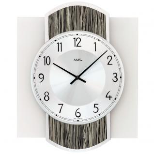 AMS 9559 Wanduhr Quarz analog Holz Optik schwarz grau modern mit Glas