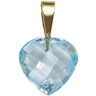 Anhänger Herz 585 Gold Gelbgold 1 Blautopas hellblau blau Herzanhänger