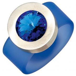 Damen Ring blau PVC mit Edelstahl kombiniert 1 SWAROVSKI® ELEMENT