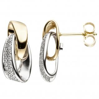 Ohrstecker 585 Gold Weißgold Gelbgold bicolor 48 Diamanten Brillanten Ohrringe