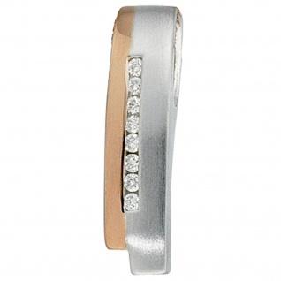 Anhänger 585 Gold Weißgold Rotgold bicolor teilmatt 8 Diamanten Brillanten