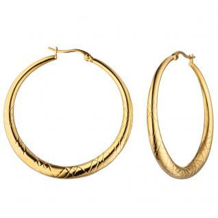 Creolen rund aus Edelstahl gold farben beschichtet mit Muster Ohrringe