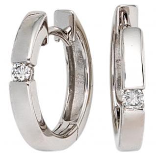 Creolen rund 585 Gold Weißgold 2 Diamanten Brillanten 0, 10ct. Ohrringe