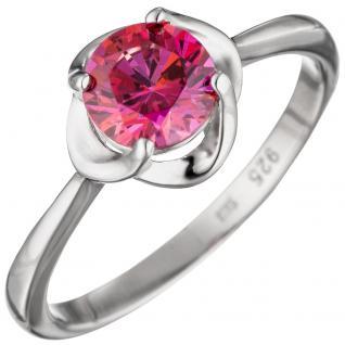 Damen Ring 925 Sterling Silber mit Zirkonia pink rosa Silberring - 56