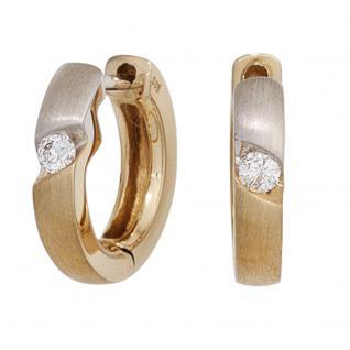 Creolen rund 585 Gold Gelbgold bicolor mattiert 2 Diamanten Brillanten Ohrringe