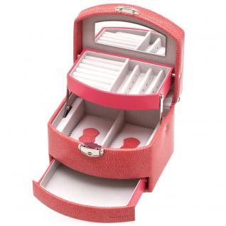 Davidt's Schmuckkoffer Schmuckkasten rosa rot Schloss Spiegel abschließbar