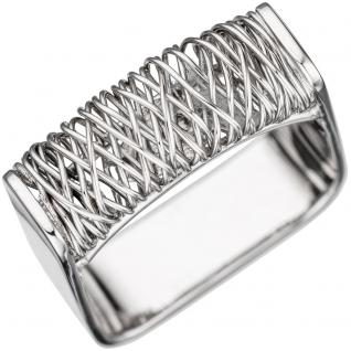 Damen Ring eckig quadratisch 585 Gold Weißgold Goldring Weißgoldring - 56