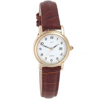 JOBO Damen Armbanduhr Quarz Analog Edelstahl gold vergoldet braunes Lederband
