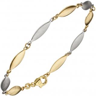 Armband 585 Gold Gelbgold Weißgold bicolor matt 19, 5 cm Goldarmband