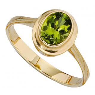 Damen Ring 585 Gold Gelbgold 1 Peridot grün Goldring - 58