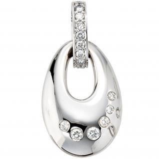 Einhänger Anhänger 585 Weißgold, 16 Diamanten Brillanten 0, 33ct. Goldanhänger