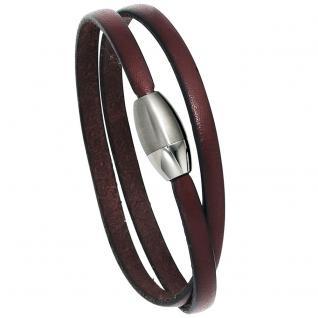 Armband Leder braun Magnetverschluss aus Edelstahl mattiert 19 cm Lederarmband