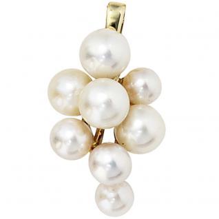 Anhänger 585 Gold Gelbgold 8 Akoya Perlen Perlenanhänger