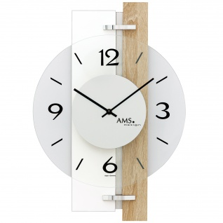 AMS 9557 Wanduhr Quarz Hochglanz weiß Holz Sonoma Optik mit Aluminium und Glas
