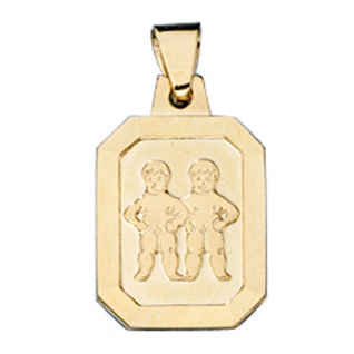 Anhänger Sternzeichen Zwilling 333 Gold Gelbgold matt Sternzeichenanhänger