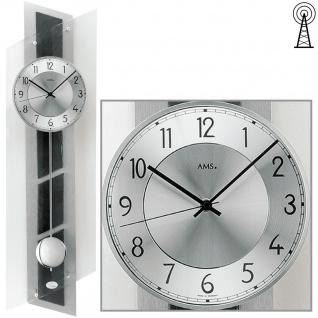 AMS 5217 Wanduhr Funk Funkwanduhr mit Pendel silbern Pendeluhr Glas und Schiefer
