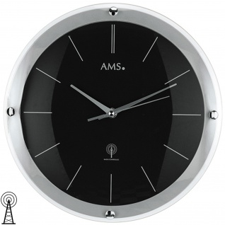 AMS 5901 Wanduhr Funk Funkwanduhr analog silbern schwarz rund mit Glas