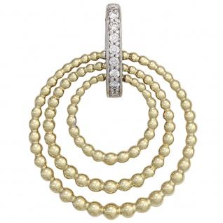 Anhänger 585 Gold Gelbgold Weißgold bicolor 9 Diamanten Brillanten Goldanhänger