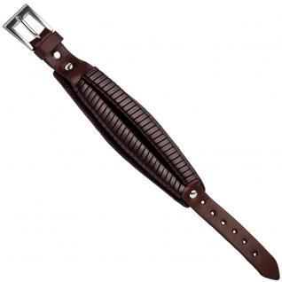 Armband Leder braun dunkelbraun 21, 5 cm mit Dornschließe aus Edelstahl