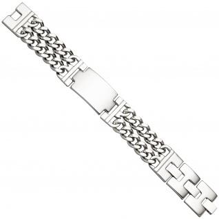 Herren Schildband 2-reihig breit Edelstahl 21 cm Armband Gravur ID Armband