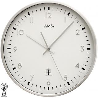 AMS 5914 Wanduhr Funk Funkwanduhr analog silbern rund aus Aluminium gebürstet