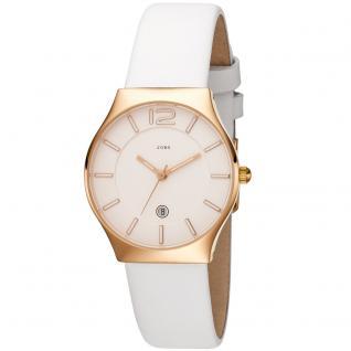 JOBO Damen Armbanduhr Quarz Analog Edelstahl roségold plattiert Lederband weiß