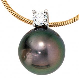 Collier Kette mit Anhänger 585 Gold 1 Tahiti Perle 1 Diamant Brilllant 42 cm