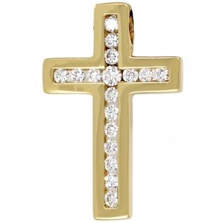 Anhänger Kreuz 585 Gold Gelbgold 17 Diamanten Brillanten Kreuzanhänger Goldkreuz