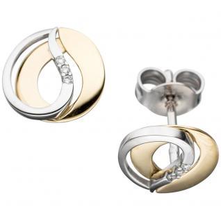 Ohrstecker 585 Gold Gelbgold Weißgold bicolor 6 Diamanten Brillanten Ohrringe