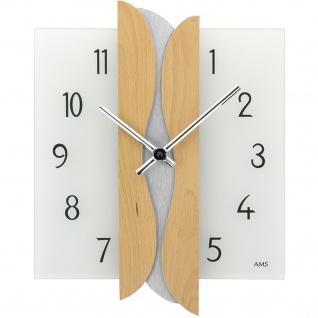 AMS 9214/18 Wanduhr Quarz analog eckig Holz Buche mit Glas