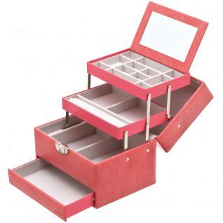 Davidt's Schmuckkoffer Schmuckkasten rosa rot Schloss Spiegel Schublade
