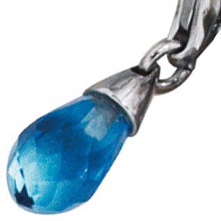 Einhänger Charm Tropfen 925 Sterling Silber rhodiniert 1 Zirkonia blau