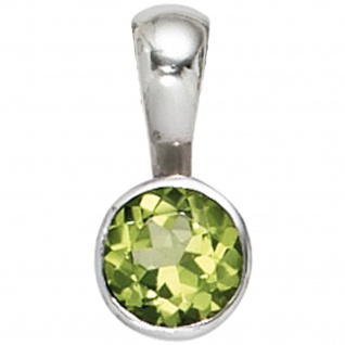 Anhänger rund 925 Sterling Silber rhodiniert 1 Peridot grün