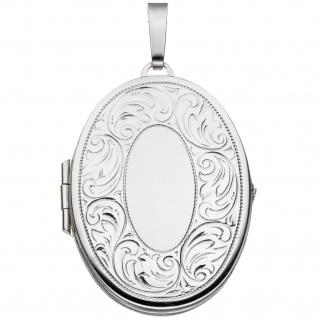 Medaillon oval für 2 Fotos 925 Sterling Silber matt Anhänger zum Öffnen