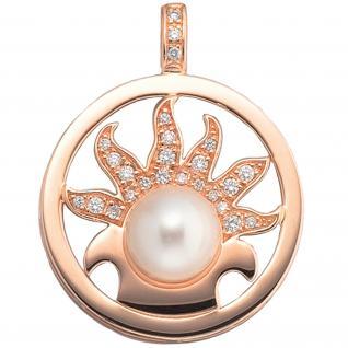 Anhänger rund 750 Gold Rotgold 1 Süßwasser Perle 25 Diamanten Perlenanhänger