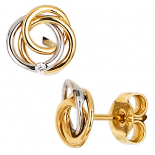 Ohrstecker verschlungen 585 Gold Gelbgold Weißgold bicolor 2 Diamanten Ohrringe