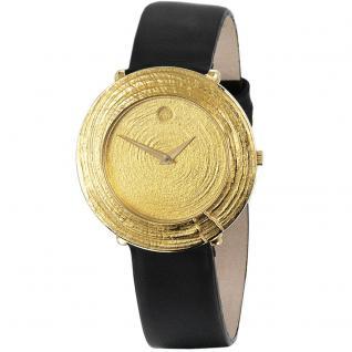 ARS Herren-Armbanduhr Quarz Analog 750 Gold Gelbgold Lederband Safirglas