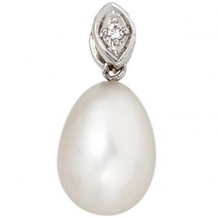 Anhänger 333 Gold Weißgold 1 Süßwasser Perle 1 Zirkonia Perlenanhänger