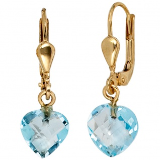 Ohrhänger Herz 585 Gold Gelbgold 2 Blautopase hellblau blau Ohrringe Boutons